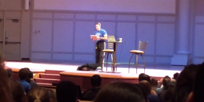 Dr. White Breaks A Board With His Head in Chapel