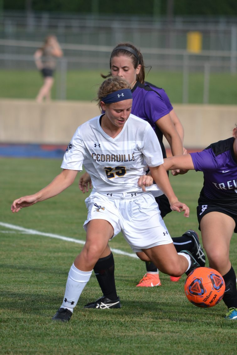 Lyndsey Smith works the ball against the Trevecca defense. (Photo: Andriana Polsdorfer)