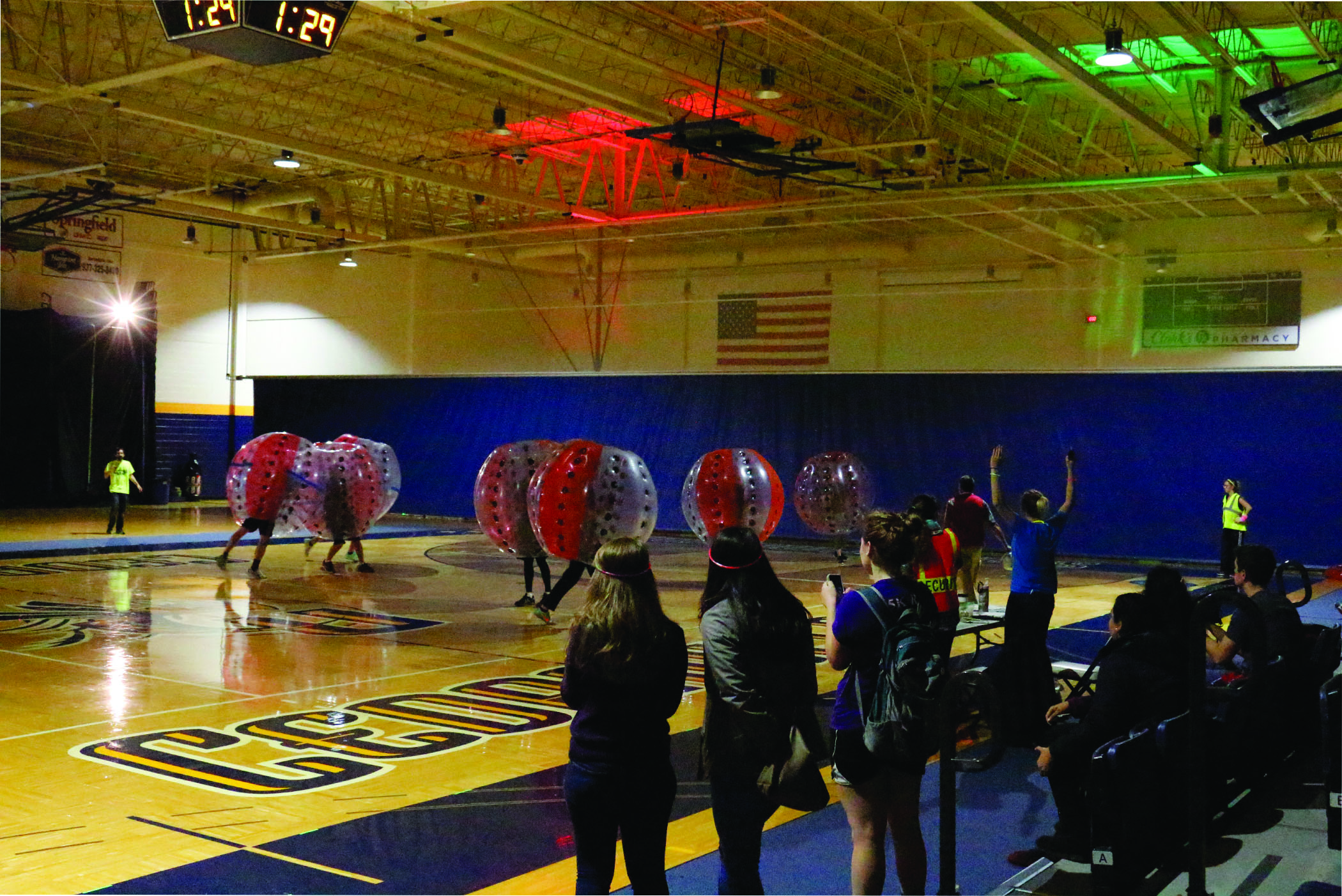 Glow bubble soccer in the Callan Gym. The game kicked off at 8 p.m..
