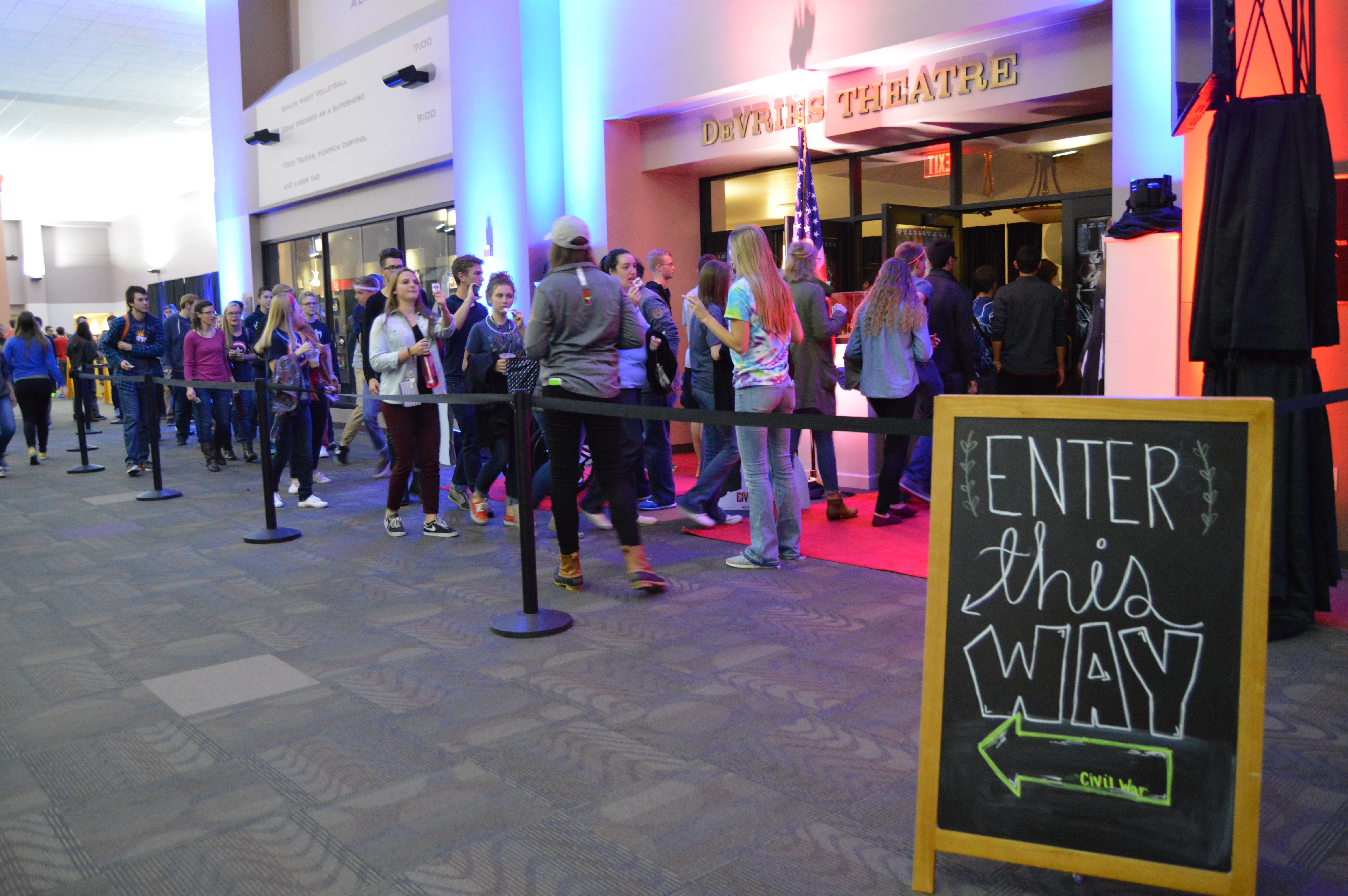 The lines quickly grow outside the DeVries Theater in the SSC as students eagerly wait to be seated to see the newest Captain America movie. [photo: Priscila Gonzalez]