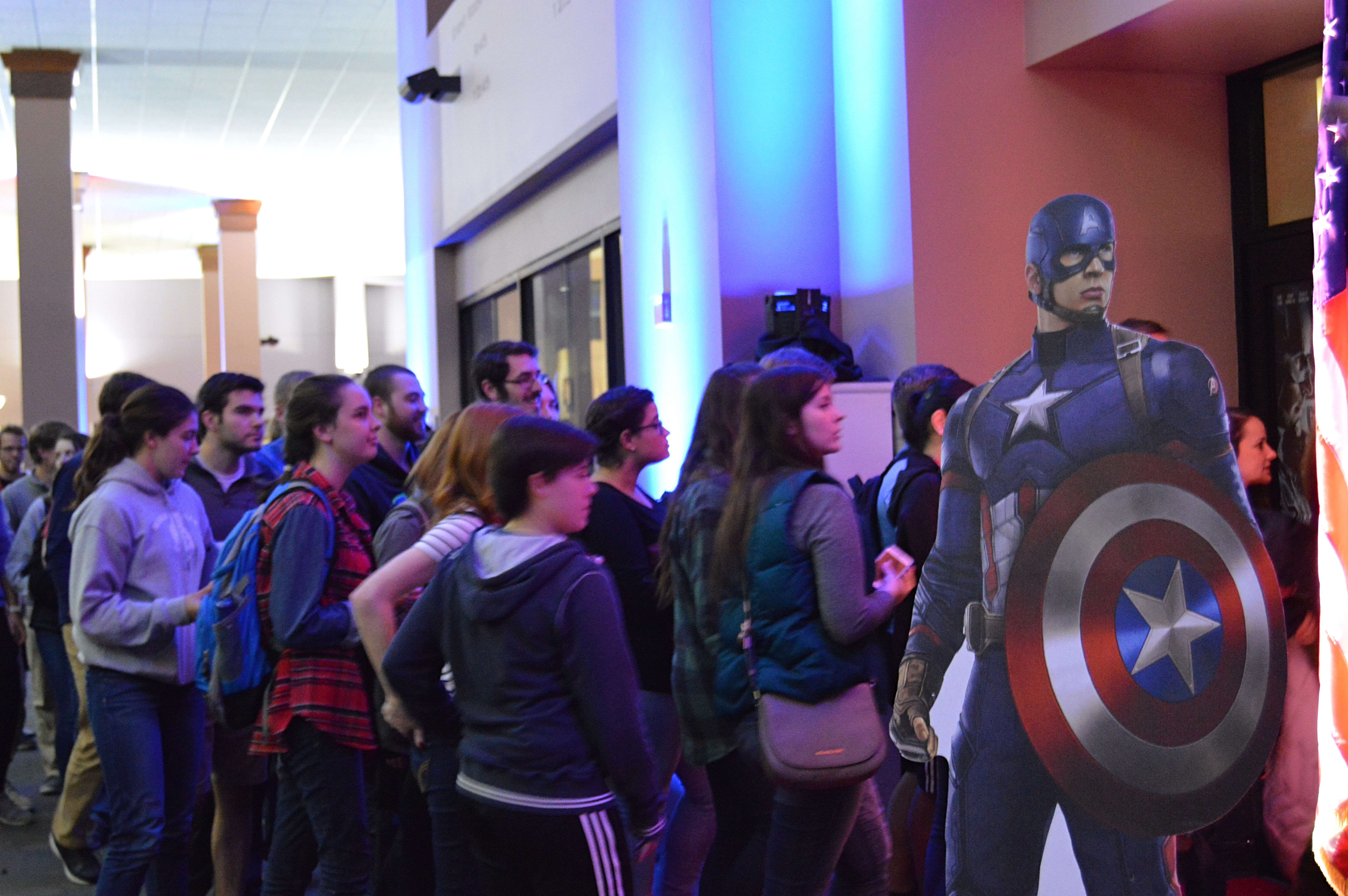 Doors open to the theater for the 9:45pm showing. The movie would show again later in the SSC Events Room at 11:15 pm, and the pumpkin carving and laser tag activities would be available through both showings. [photo: Priscila Gonzalez]