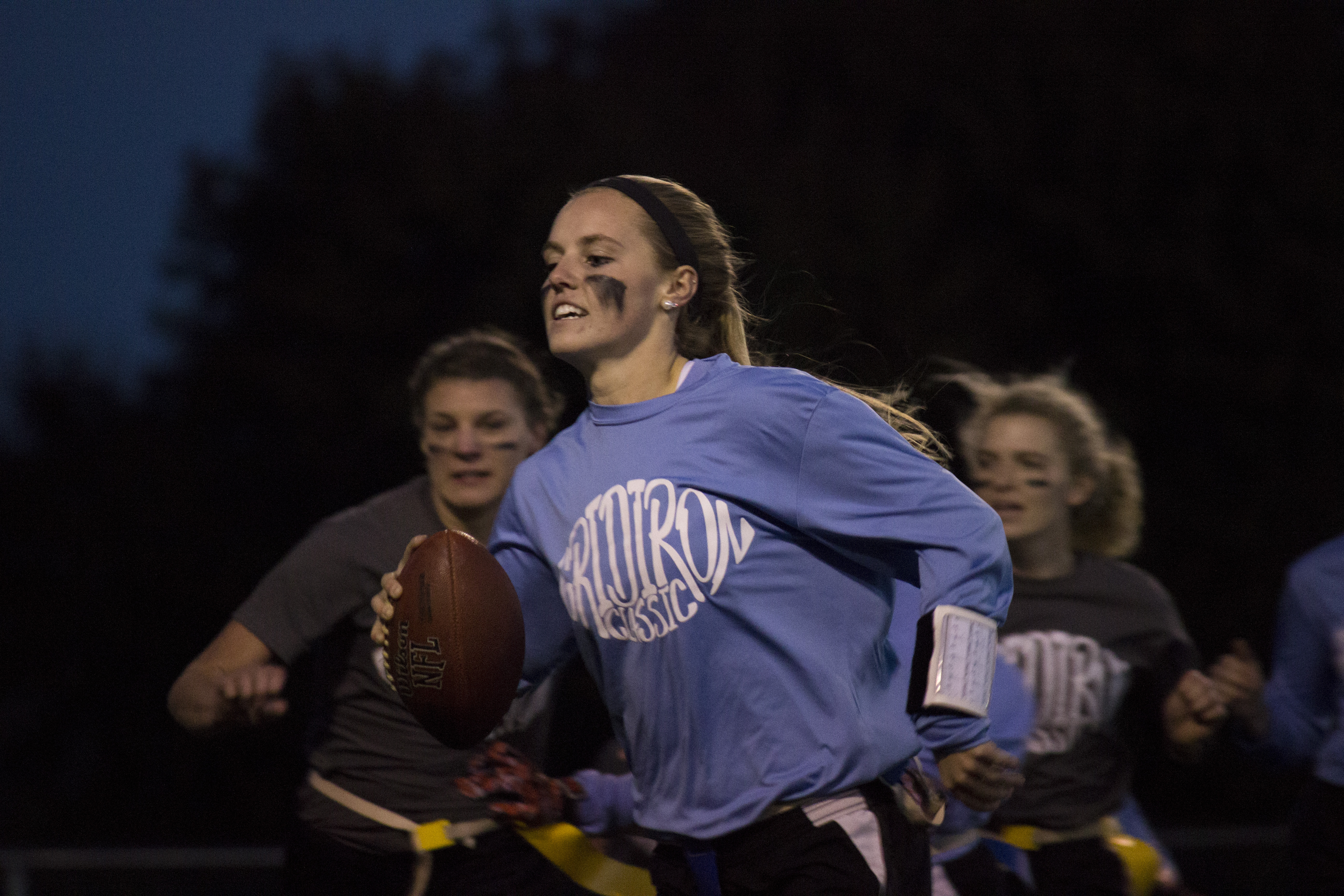 Sophomore Kelly Poole leads the Printy team to yet another consecutive Gridiron victory.