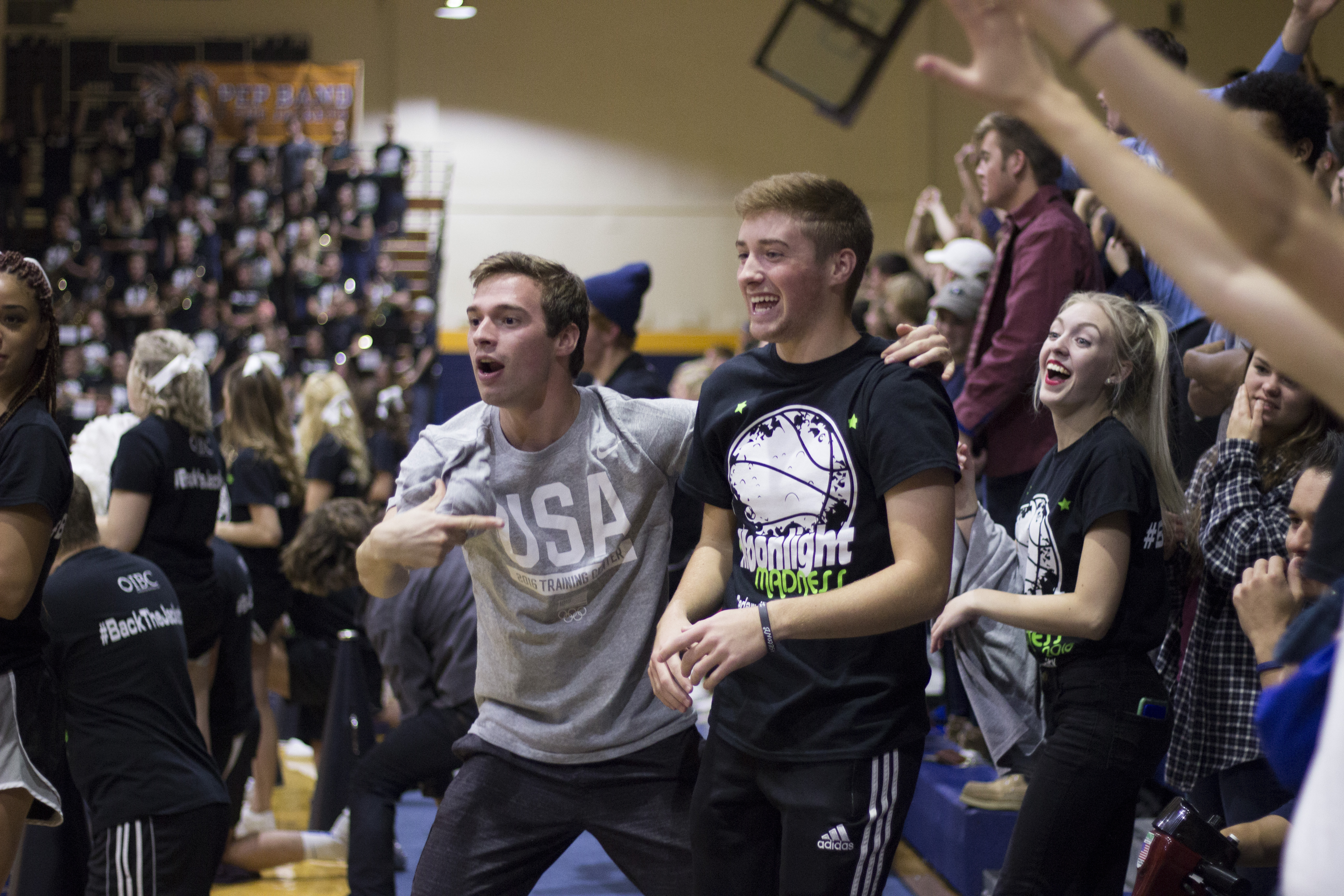 Students shamelessly dance for a chance to win a free t-shirt.