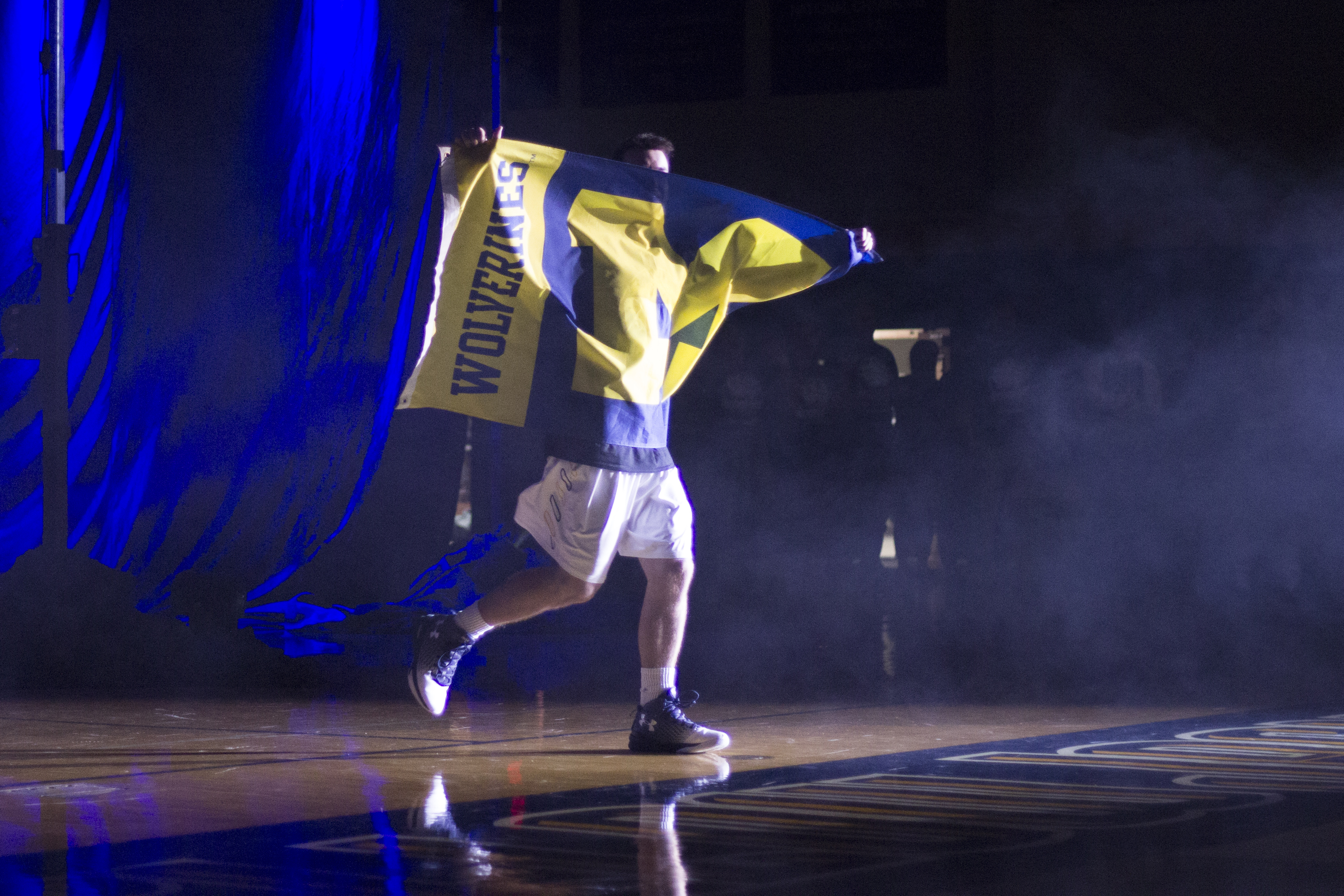 Junior Evan Kraatz, #10, guard position, displays his true team pride.