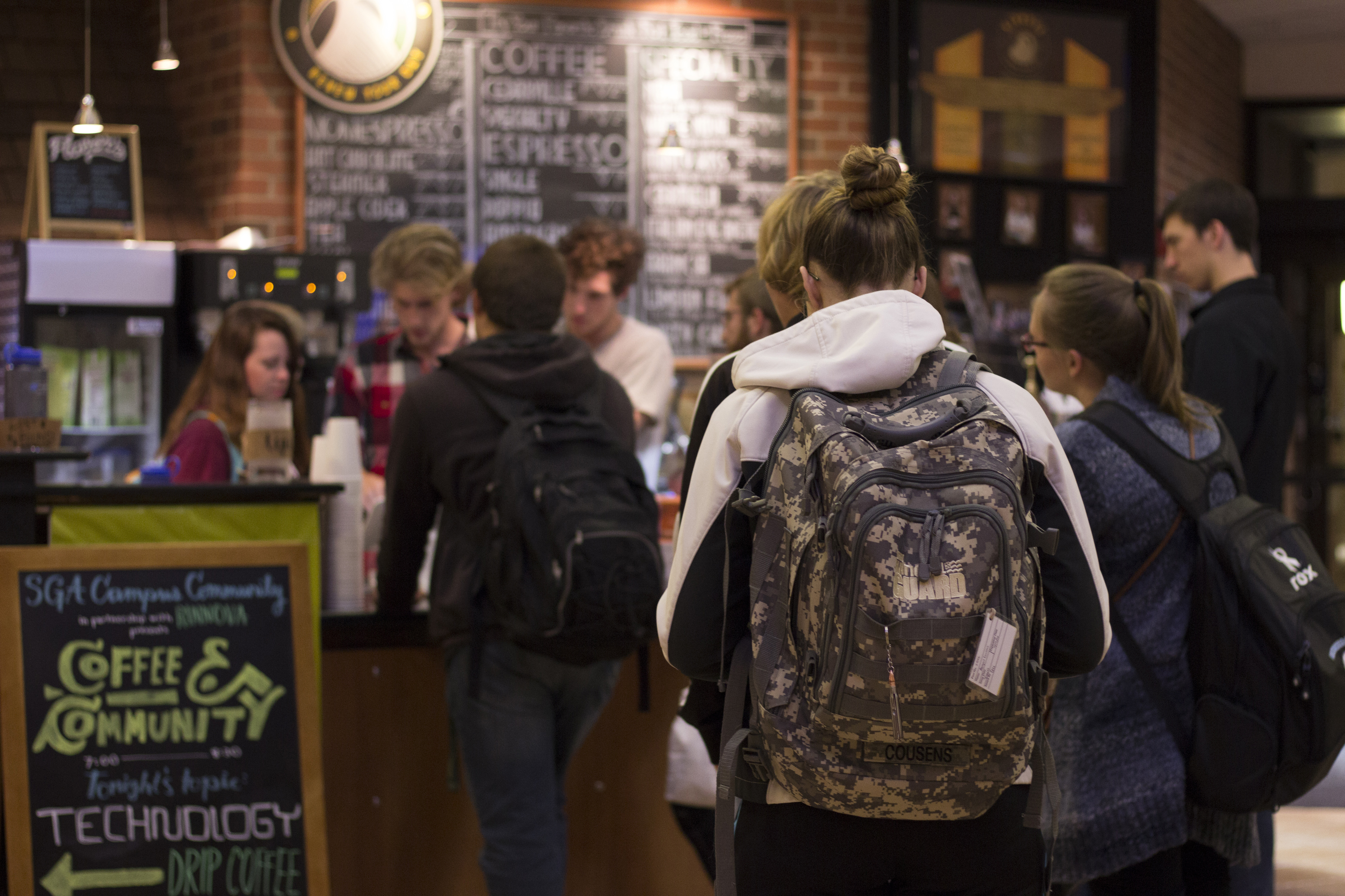 """Every Tuesday night, CU's Student Life Programs encourages students to put away technology from 7 to 8:30, filling that time by conversing with fellow students over discounted coffee from Rinnova. """"We are called to imitate the character of God within the church, so we should be striving to live in perfect community as God did,"""" Sumrall said. """"This is the inspiration behind Coffee & Community."""""""